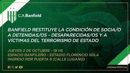 Banfield: ejemplar gesto de reivindicación de sus socios detenidos-desaparecidos