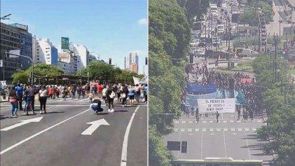 Organizaciones sociales protestan en el centro porteño por aumentos en planes y alimentos