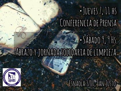 APDH La Matanza: luego del incendio, conferencia de prensa y abrazo solidario